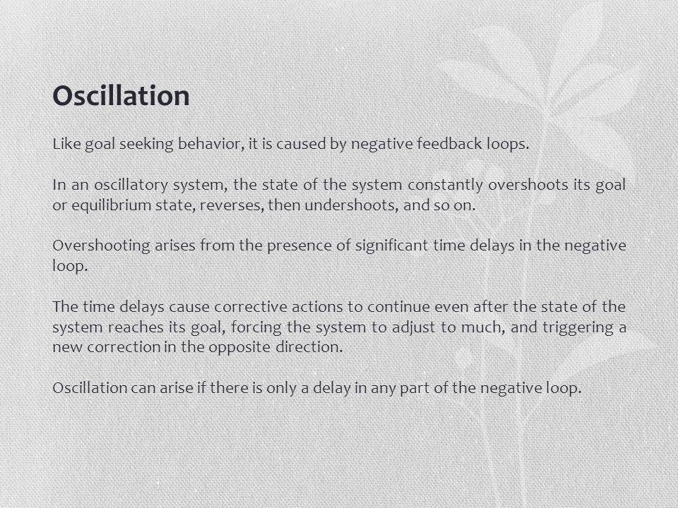 Oscillation Like goal seeking behavior, it is caused by negative feedback loops.