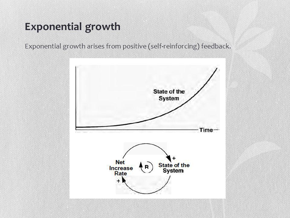 Exponential growth Exponential growth arises from positive (self-reinforcing) feedback.