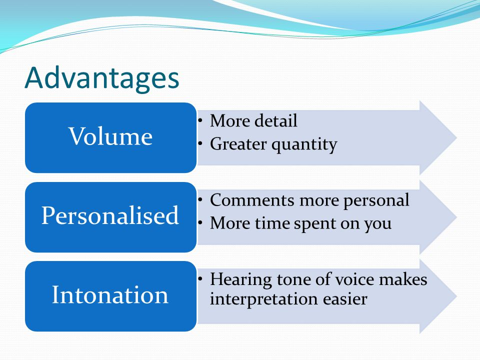 Advantages More detail Greater quantity Volume Comments more personal More time spent on you Personalised Hearing tone of voice makes interpretation easier Intonation