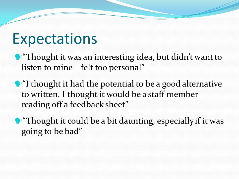 Expectations Thought it was an interesting idea, but didnt want to listen to mine – felt too personal I thought it had the potential to be a good alternative to written.