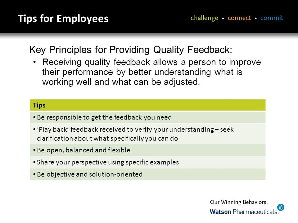 Tips for Managers Tips Help employees see their strengths and when their work is appreciated Feedback should be well timed – as closely tied to the event as possible, but not rushed Balance positive and constructive feedback Be specific, not general – focus on relevant information and observations the person can act upon Read nonverbal cues to get an indication of whether you need to elaborate or pause for the person to absorb what you are saying and respond to it Make feedback frequent and informal and be prepared to receive feedback yourself