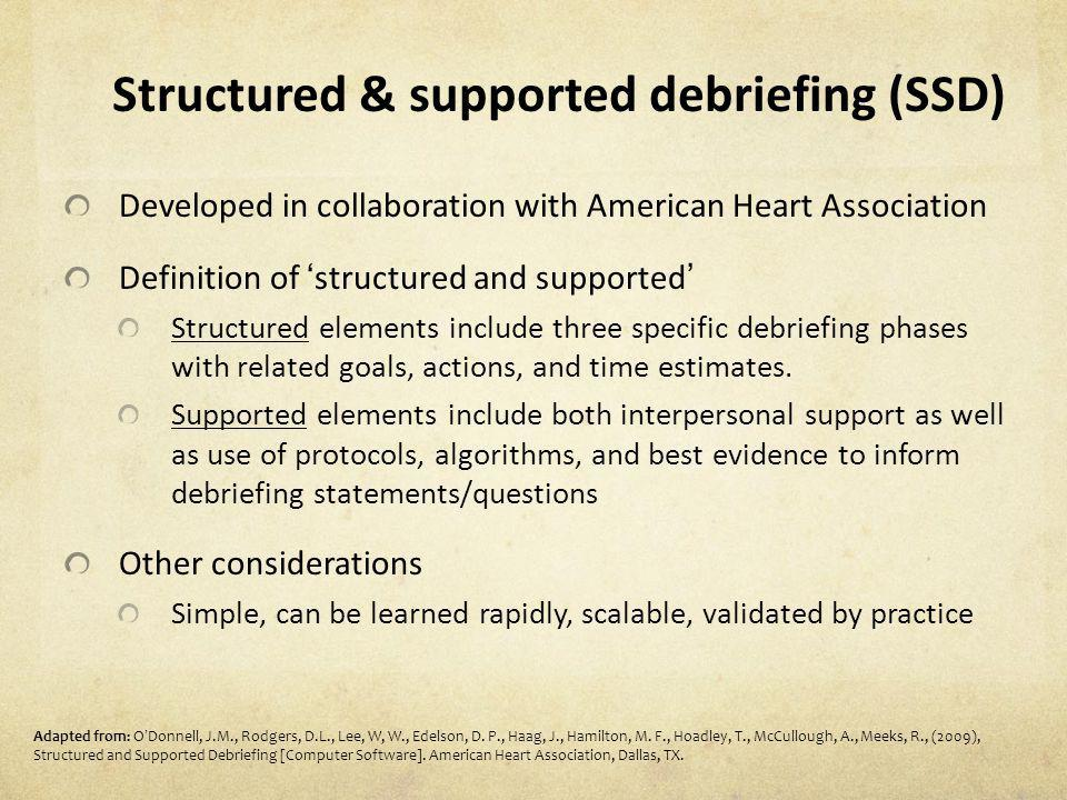 Structured & supported debriefing (SSD) Developed in collaboration with American Heart Association Definition of structured and supported Structured e