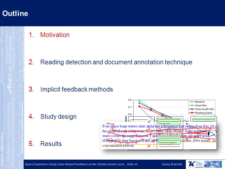 Query Expansion Using Gaze-Based Feedback on the Subdocument Level, slide 2Georg Buscher 1. Motivation 2. Reading detection and document annotation te