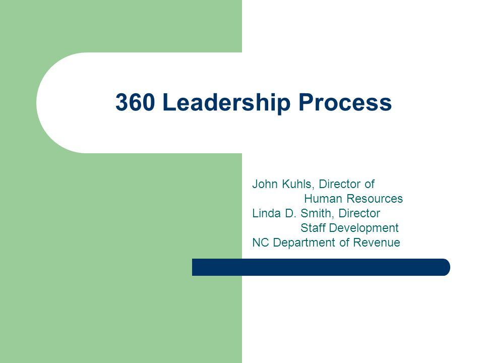 360 Leadership Process John Kuhls, Director of Human Resources Linda D. Smith, Director Staff Development NC Department of Revenue