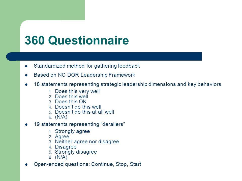 360 Questionnaire Standardized method for gathering feedback Based on NC DOR Leadership Framework 18 statements representing strategic leadership dime