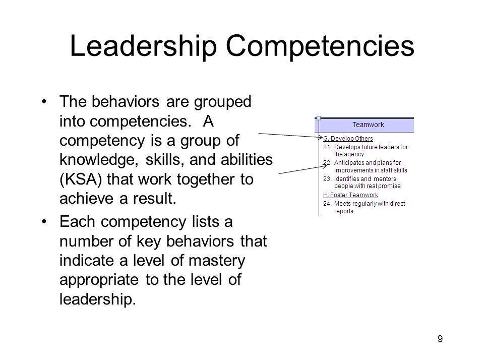 Leadership Competencies The behaviors are grouped into competencies. A competency is a group of knowledge, skills, and abilities (KSA) that work toget