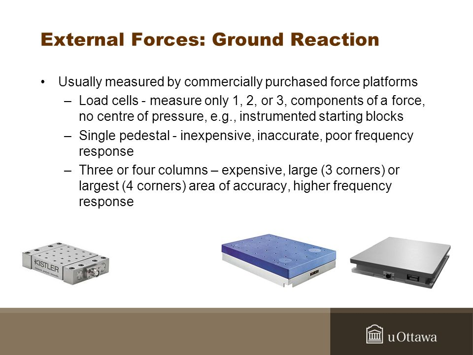 External Forces: Ground Reaction Usually measured by commercially purchased force platforms –Load cells - measure only 1, 2, or 3, components of a for
