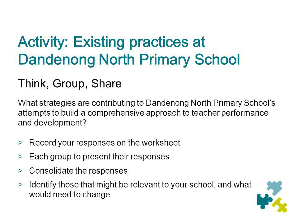 Think, Group, Share What strategies are contributing to Dandenong North Primary Schools attempts to build a comprehensive approach to teacher performa