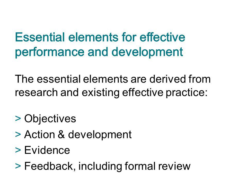 The essential elements are derived from research and existing effective practice: >Objectives >Action & development >Evidence >Feedback, including for