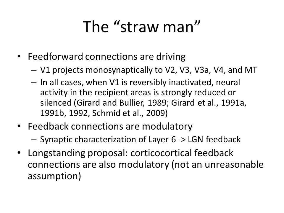 The straw man Feedforward connections are driving – V1 projects monosynaptically to V2, V3, V3a, V4, and MT – In all cases, when V1 is reversibly inactivated, neural activity in the recipient areas is strongly reduced or silenced (Girard and Bullier, 1989; Girard et al., 1991a, 1991b, 1992, Schmid et al., 2009) Feedback connections are modulatory – Synaptic characterization of Layer 6 -> LGN feedback Longstanding proposal: corticocortical feedback connections are also modulatory (not an unreasonable assumption)
