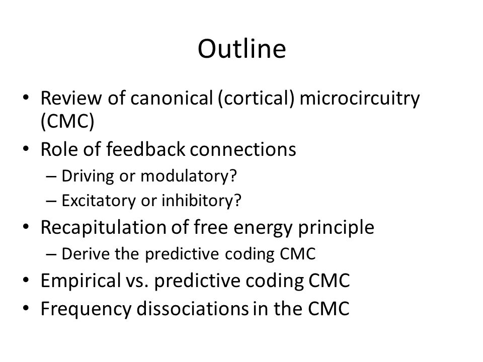 Outline Review of canonical (cortical) microcircuitry (CMC) Role of feedback connections – Driving or modulatory? – Excitatory or inhibitory? Recapitu