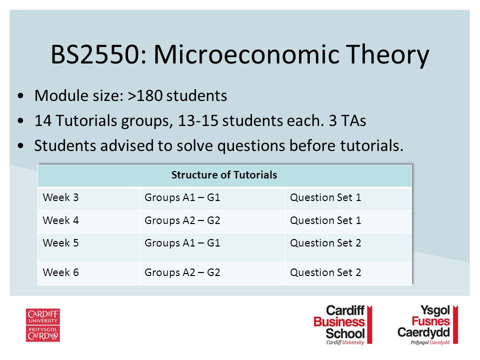 BS2550: Microeconomic Theory Module size: >180 students 14 Tutorials groups, 13-15 students each.