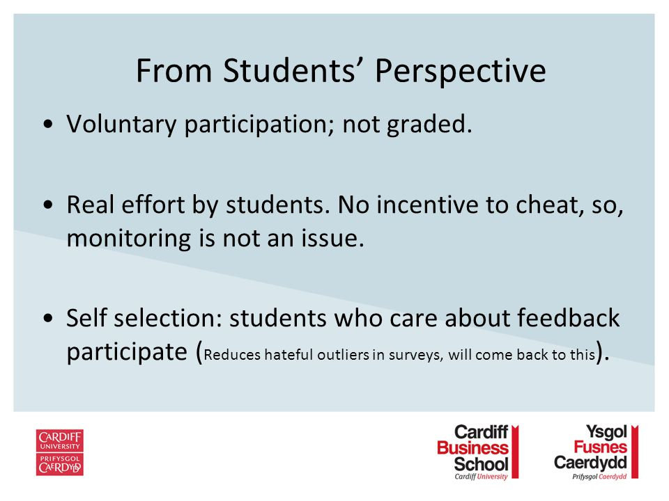 From Students Perspective Voluntary participation; not graded.