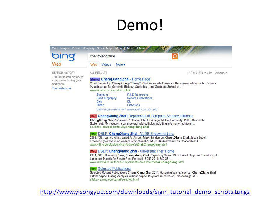 Demo! http://www.yisongyue.com/downloads/sigir_tutorial_demo_scripts.tar.gz