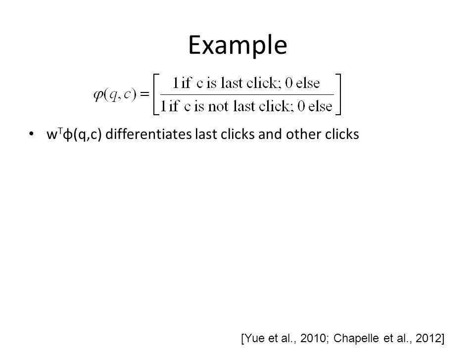 Example w T φ(q,c) differentiates last clicks and other clicks [Yue et al., 2010; Chapelle et al., 2012]