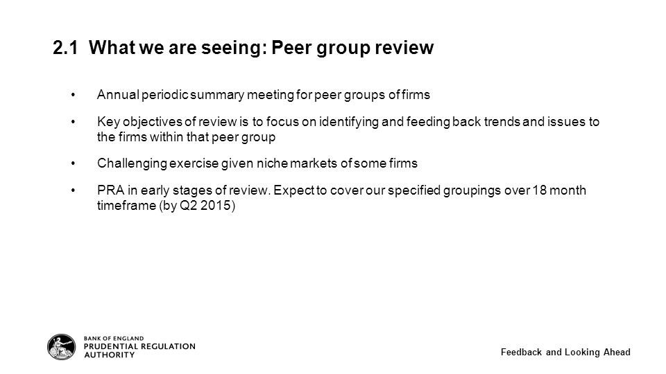 Annual periodic summary meeting for peer groups of firms Key objectives of review is to focus on identifying and feeding back trends and issues to the firms within that peer group Challenging exercise given niche markets of some firms PRA in early stages of review.