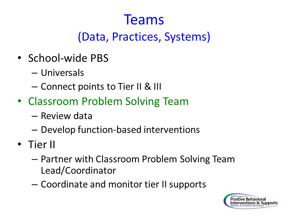 Teams (Data, Practices, Systems) School-wide PBS – Universals – Connect points to Tier II & III Classroom Problem Solving Team – Review data – Develop