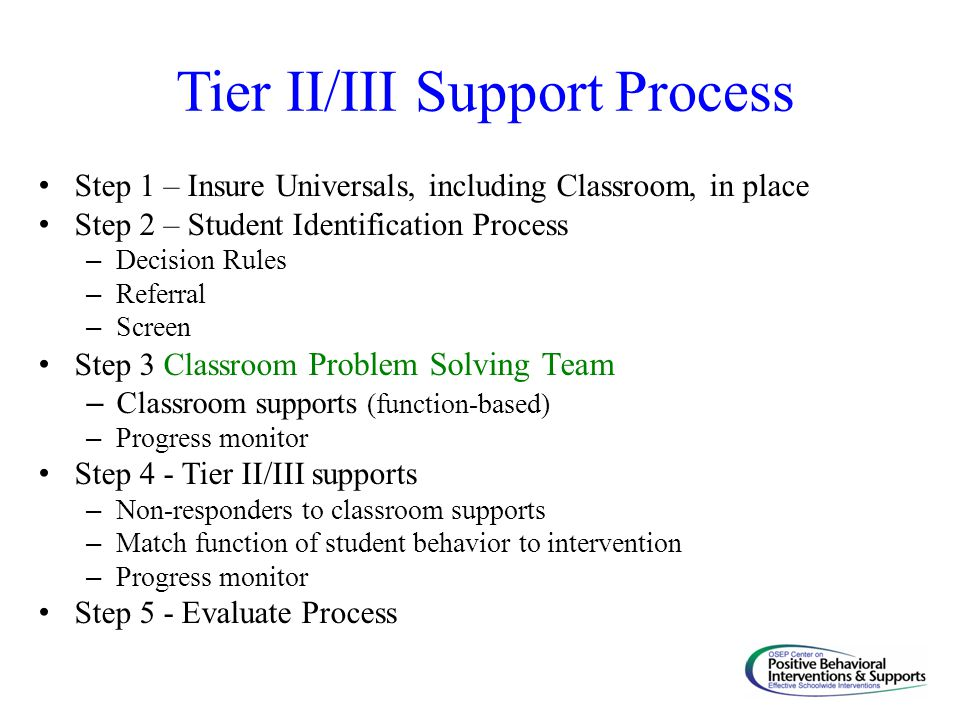 Tier II/III Support Process Step 1 – Insure Universals, including Classroom, in place Step 2 – Student Identification Process – Decision Rules – Refer