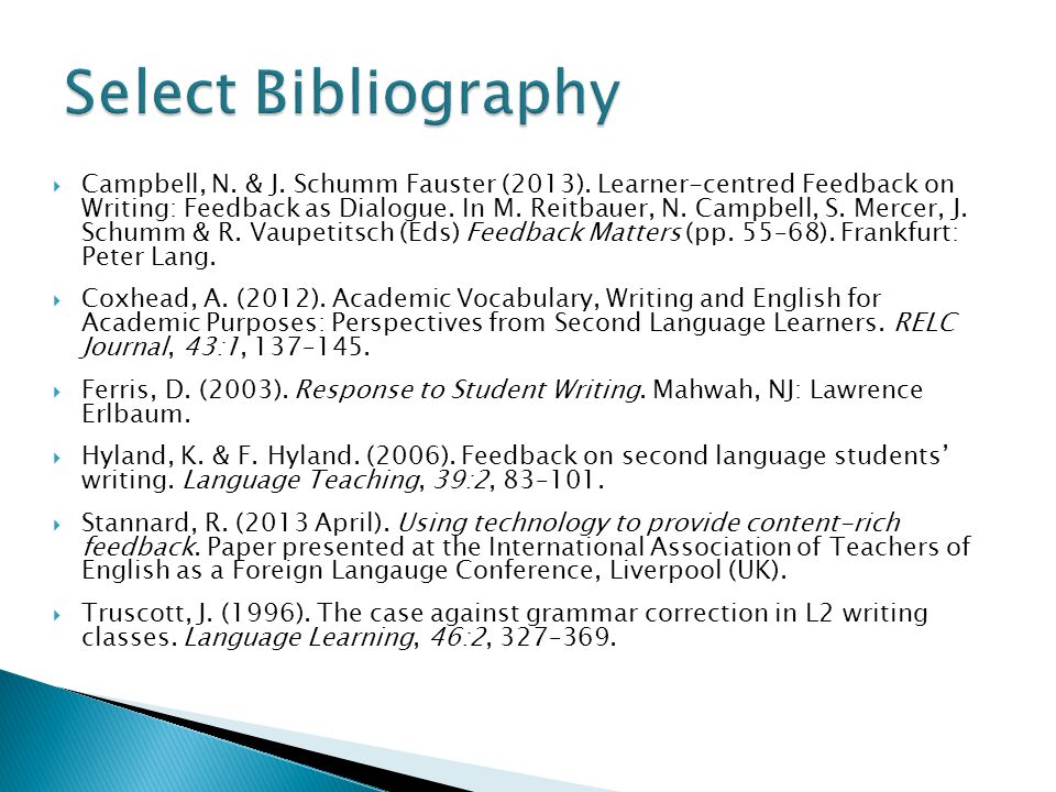 Campbell, N. & J. Schumm Fauster (2013). Learner-centred Feedback on Writing: Feedback as Dialogue. In M. Reitbauer, N. Campbell, S. Mercer, J. Schumm