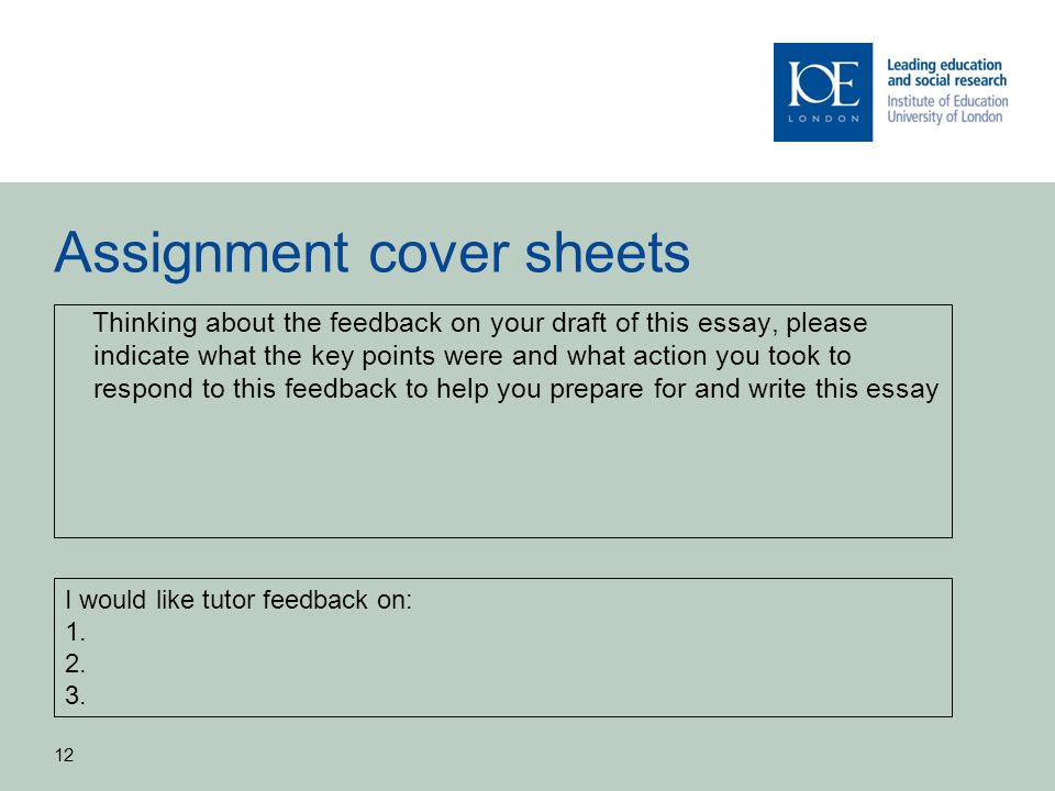Assignment cover sheets Thinking about the feedback on your draft of this essay, please indicate what the key points were and what action you took to