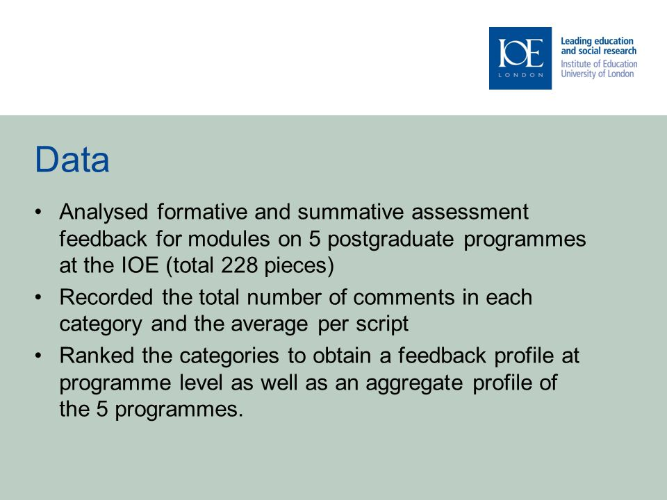 Data Analysed formative and summative assessment feedback for modules on 5 postgraduate programmes at the IOE (total 228 pieces) Recorded the total number of comments in each category and the average per script Ranked the categories to obtain a feedback profile at programme level as well as an aggregate profile of the 5 programmes.