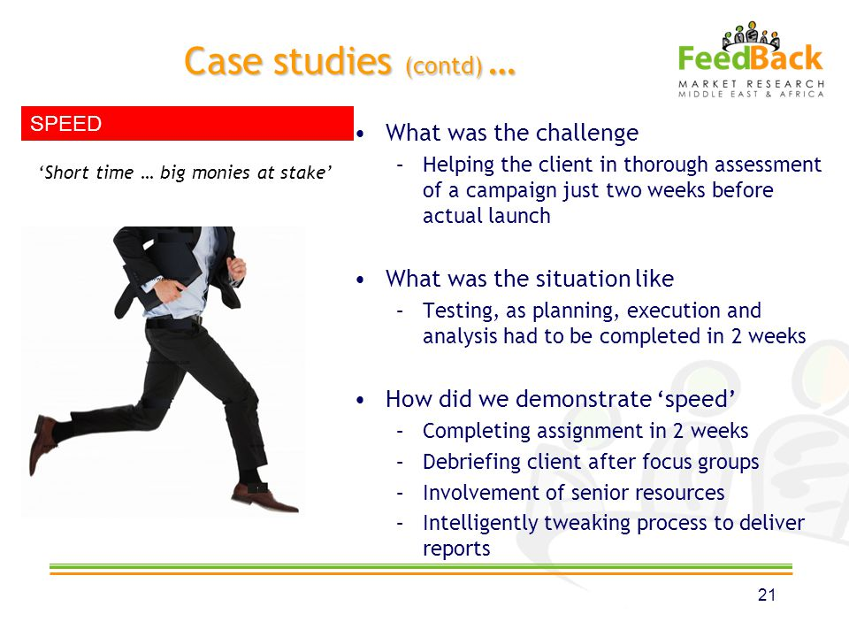Case studies (contd) … What was the challenge –Helping the client in thorough assessment of a campaign just two weeks before actual launch What was the situation like –Testing, as planning, execution and analysis had to be completed in 2 weeks How did we demonstrate speed –Completing assignment in 2 weeks –Debriefing client after focus groups –Involvement of senior resources –Intelligently tweaking process to deliver reports 21 Short time … big monies at stake SPEED