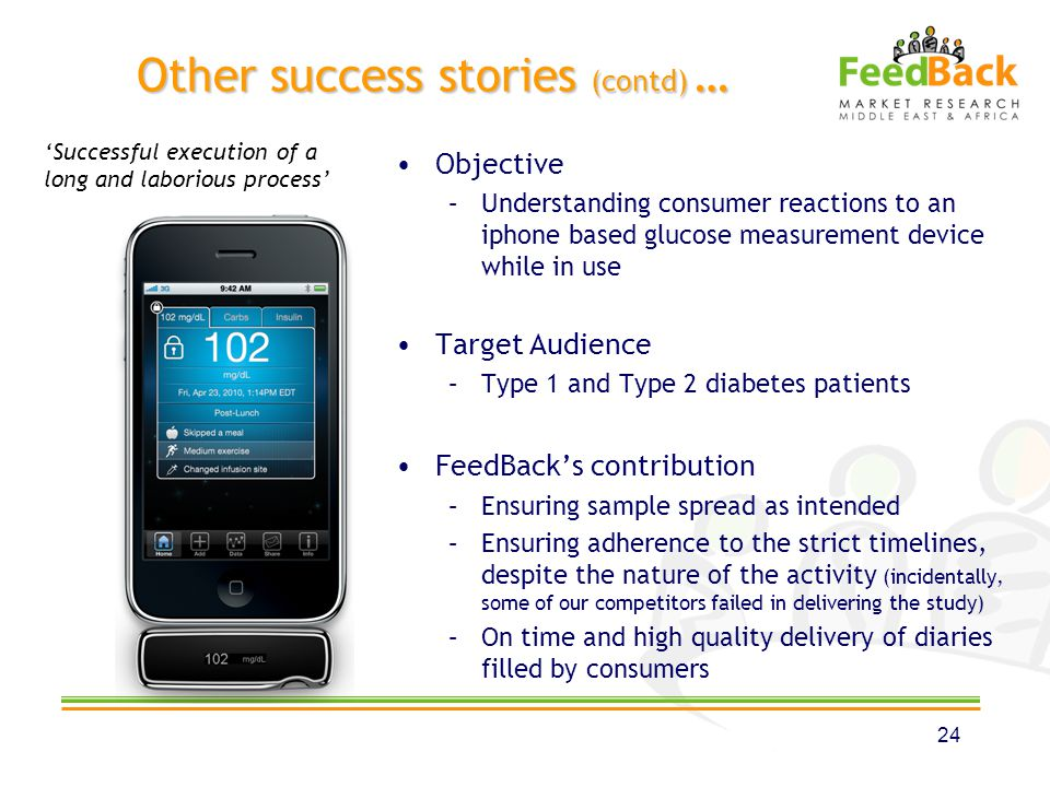 Other success stories (contd) … Objective –Understanding consumer reactions to an iphone based glucose measurement device while in use Target Audience –Type 1 and Type 2 diabetes patients FeedBacks contribution –Ensuring sample spread as intended –Ensuring adherence to the strict timelines, despite the nature of the activity (incidentally, some of our competitors failed in delivering the study) –On time and high quality delivery of diaries filled by consumers 24 Successful execution of a long and laborious process