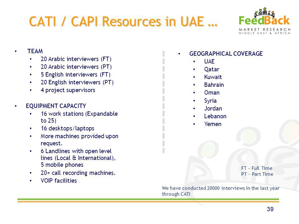 CATI / CAPI Resources in UAE … 39 TEAM 20 Arabic interviewers (FT) 20 Arabic interviewers (PT) 5 English interviewers (FT) 20 English interviewers (PT