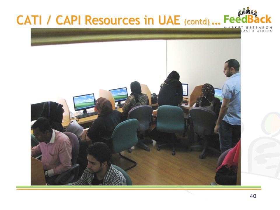 CATI / CAPI Resources in UAE (contd) … 40