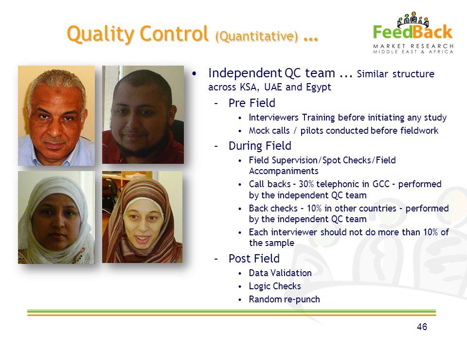 Quality Control (Quantitative) … Independent QC team...