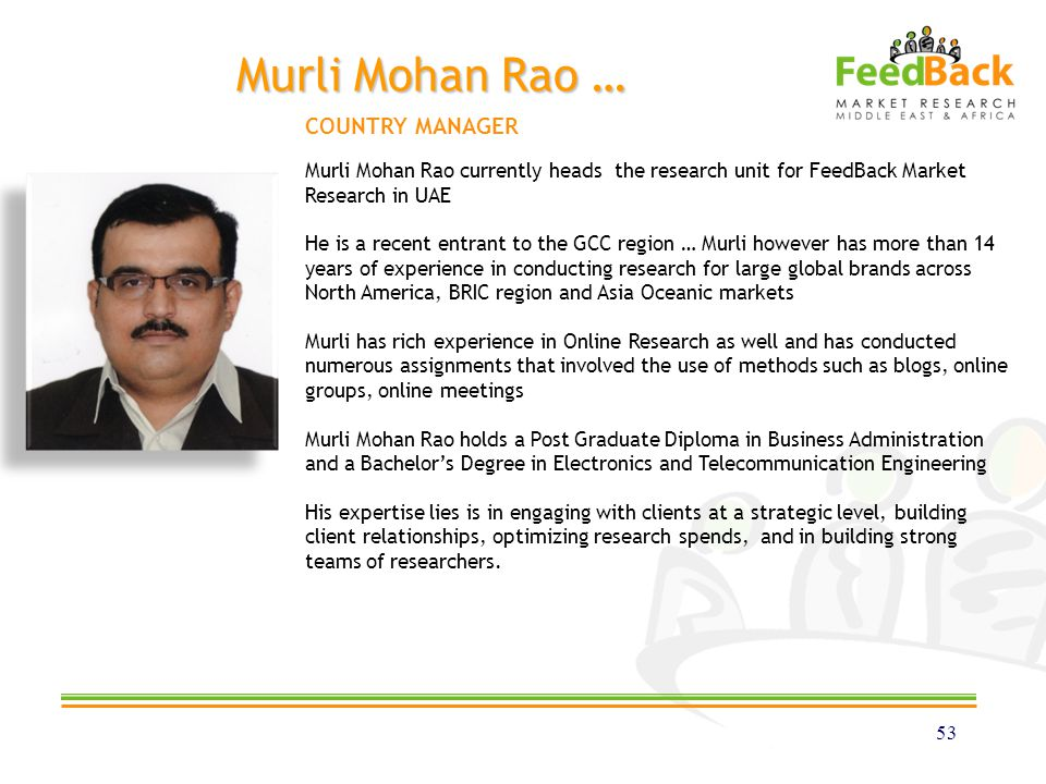 Murli Mohan Rao … 53 Murli Mohan Rao currently heads the research unit for FeedBack Market Research in UAE He is a recent entrant to the GCC region …
