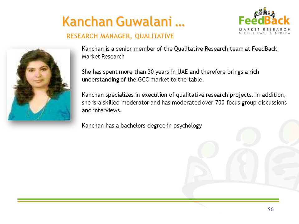 Kanchan Guwalani … 56 Kanchan is a senior member of the Qualitative Research team at FeedBack Market Research She has spent more than 30 years in UAE