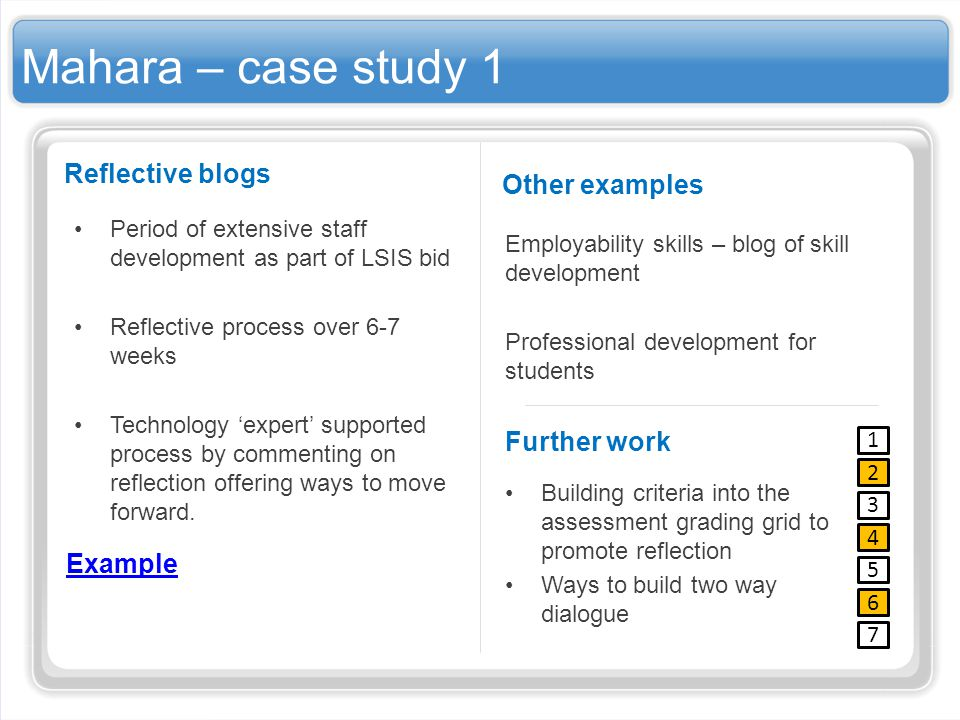 Mahara – case study 1 Reflective blogs Period of extensive staff development as part of LSIS bid Reflective process over 6-7 weeks Technology expert s