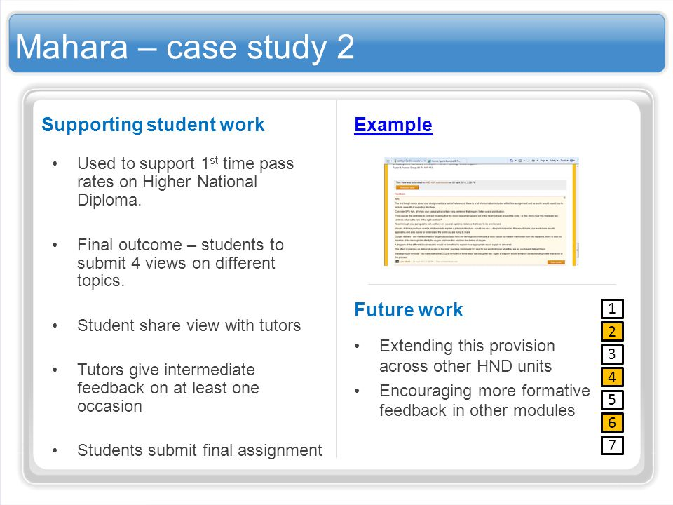 Mahara – case study 2 Supporting student work Used to support 1 st time pass rates on Higher National Diploma. Final outcome – students to submit 4 vi