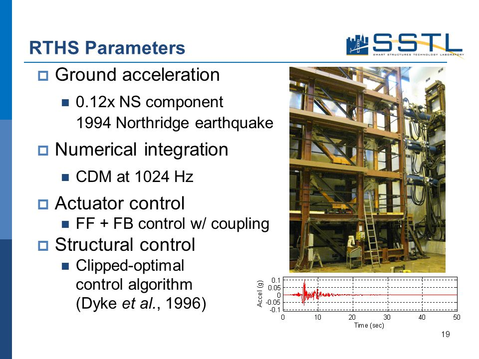 Ground acceleration 0.12x NS component 1994 Northridge earthquake Numerical integration CDM at 1024 Hz Actuator control FF + FB control w/ coupling Structural control Clipped-optimal control algorithm (Dyke et al., 1996) RTHS Parameters 19