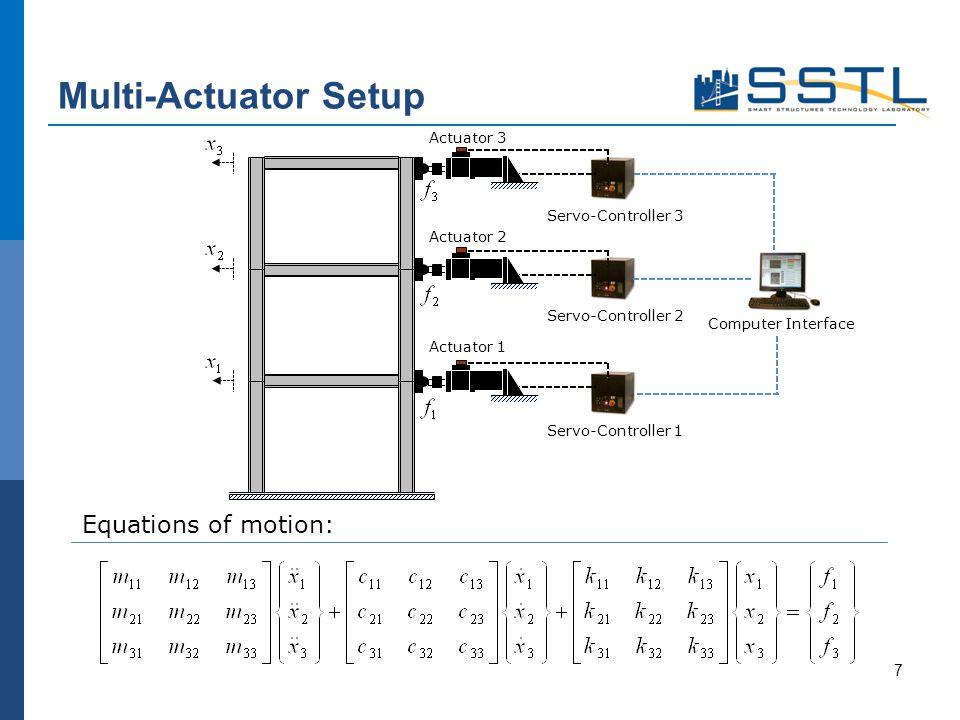Multi-Actuator Setup Equations of motion: 7 Actuator 3 Actuator 1 Actuator 2 Servo-Controller 1 Servo-Controller 2 Servo-Controller 3 Computer Interfa