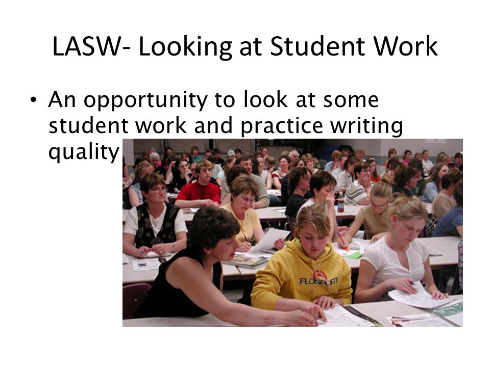 An opportunity to look at some student work and practice writing quality feedback…. LASW- Looking at Student Work
