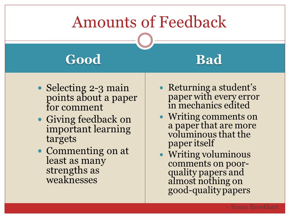 Amounts of Feedback Good Selecting 2-3 main points about a paper for comment Giving feedback on important learning targets Commenting on at least as m