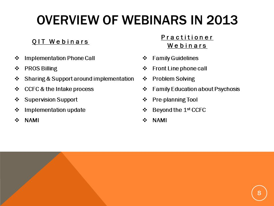 OVERVIEW OF WEBINARS IN 2013 QIT Webinars Implementation Phone Call PROS Billing Sharing & Support around implementation CCFC & the Intake process Supervision Support Implementation update NAMI Practitioner Webinars Family Guidelines Front Line phone call Problem Solving Family Education about Psychosis Pre-planning Tool Beyond the 1 st CCFC NAMI 8