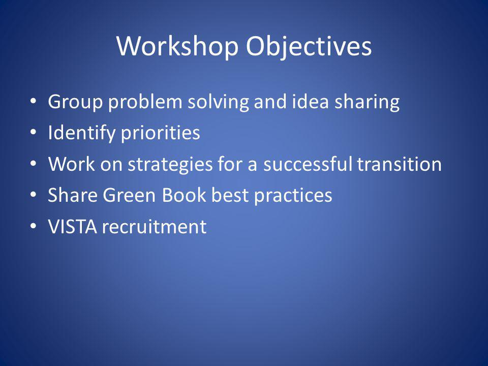 Workshop Objectives Group problem solving and idea sharing Identify priorities Work on strategies for a successful transition Share Green Book best pr