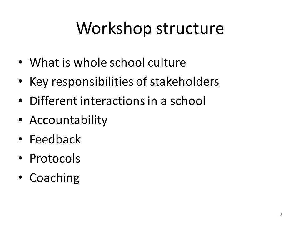 Workshop structure What is whole school culture Key responsibilities of stakeholders Different interactions in a school Accountability Feedback Protoc