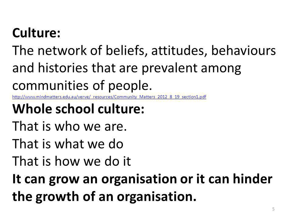 Culture: The network of beliefs, attitudes, behaviours and histories that are prevalent among communities of people.