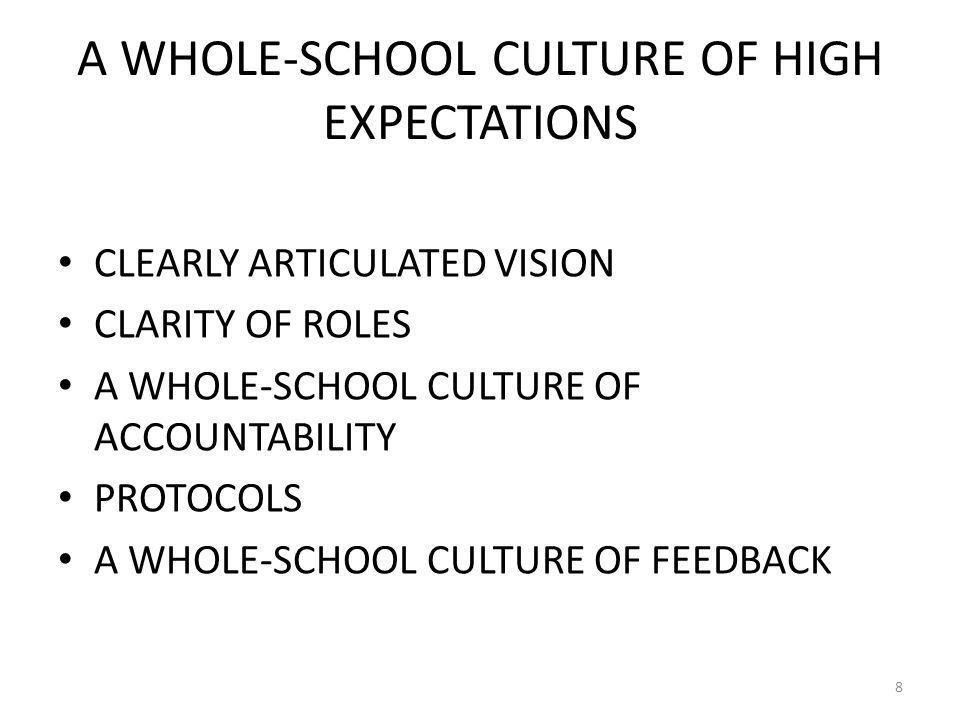 A WHOLE-SCHOOL CULTURE OF HIGH EXPECTATIONS CLEARLY ARTICULATED VISION CLARITY OF ROLES A WHOLE-SCHOOL CULTURE OF ACCOUNTABILITY PROTOCOLS A WHOLE-SCHOOL CULTURE OF FEEDBACK 8