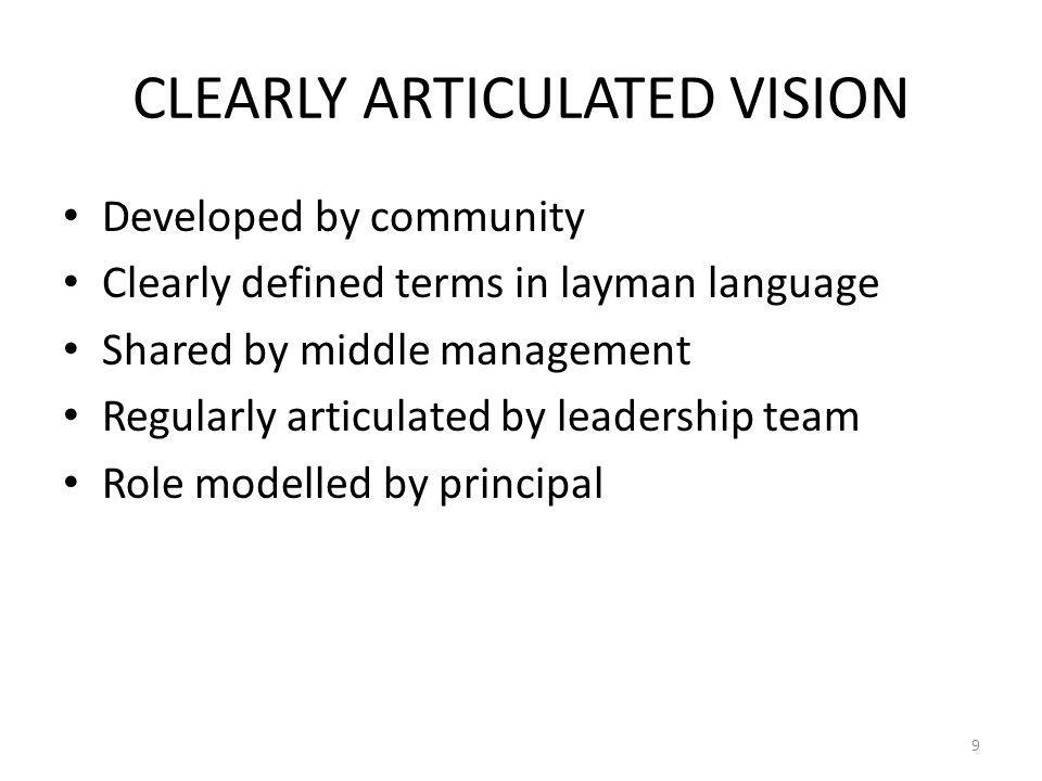 CLEARLY ARTICULATED VISION Developed by community Clearly defined terms in layman language Shared by middle management Regularly articulated by leader