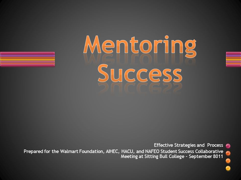 Effective Strategies and Process Prepared for the Walmart Foundation, AIHEC, HACU, and NAFEO Student Success Collaborative Meeting at Sitting Bull College – September 8011