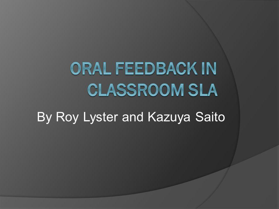 By Roy Lyster and Kazuya Saito