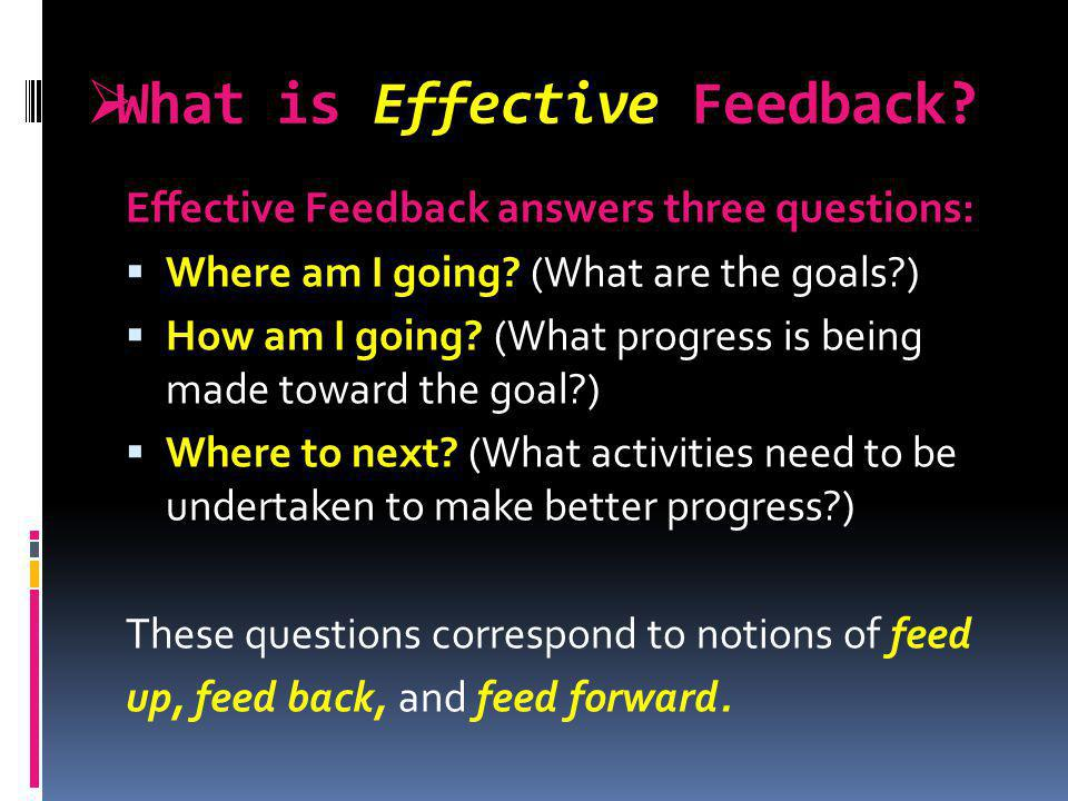 What is Effective Feedback? Effective Feedback answers three questions: Where am I going? (What are the goals?) How am I going? (What progress is bein