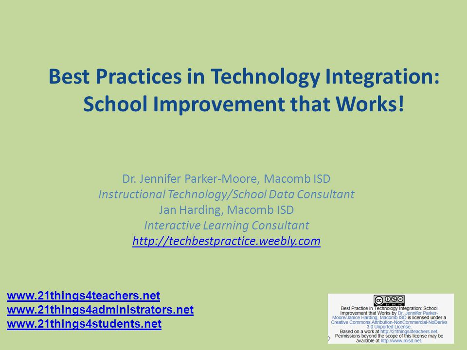 Best Practices in Technology Integration: School Improvement that Works.
