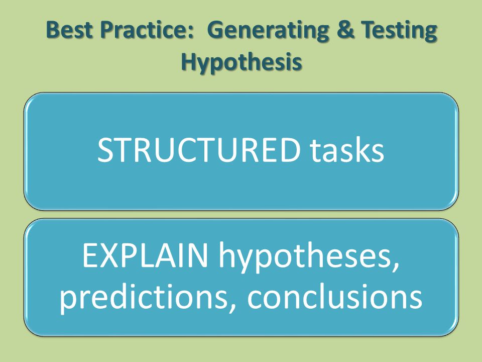 Best Practice: Generating & Testing Hypothesis STRUCTURED tasks EXPLAIN hypotheses, predictions, conclusions