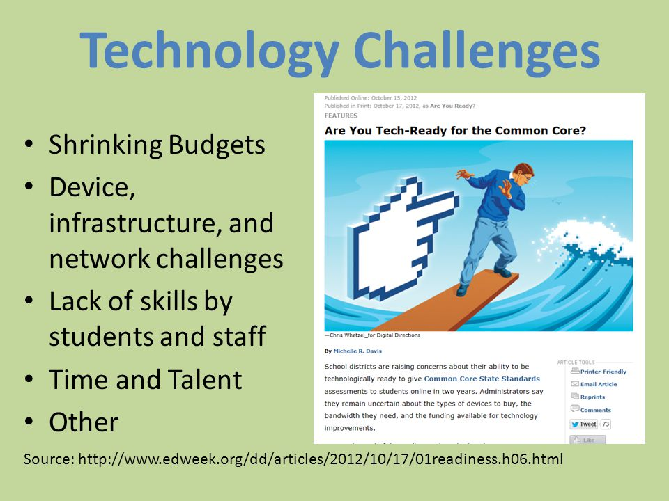 Technology Challenges Shrinking Budgets Device, infrastructure, and network challenges Lack of skills by students and staff Time and Talent Other Source: http://www.edweek.org/dd/articles/2012/10/17/01readiness.h06.html